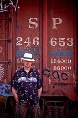 Espee (T-3 Photography) Tags: railroad selfportrait me hat sanantonio train self canon myself texas tx sp rails boxcar fedora 1740mm lid southernpacific selfie hmam 5dmarkii