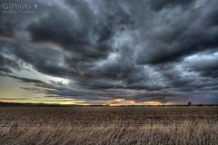 Upcoming Storm (georgetravels) Tags: sunset sky storm field rain clouds twilight dusk australia queensland warwick murky hdr toowoomba