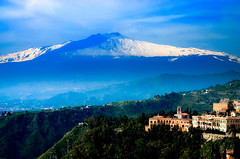 Mt. Etna From Taormina, Sicily (Butch Osborne) Tags: city trip travel italy mountain nature beautiful landscape volcano amazing interesting live awesome scenic historic sicily traveling etna breathtaking mustsee bucketlist sicily2012