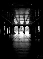 Central Park Contemplation. (Gordon Gray Photography) Tags: park new york nyc bridge newyork underground mood quiet shadows centralpark central arches calm silence marble moment distance peacefull