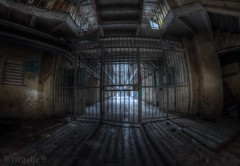 The shadows of time grow long (explore) (Kriegaffe 9) Tags: abandoned gate shadows fisheye prison jail urbanarte