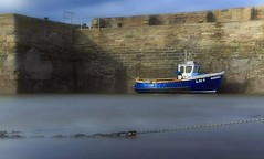 Braw Lass. (Lobhdain) Tags: longexposure sea water wall scotland boat harbour tide chain softfocus fishingboat cockenzie