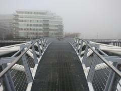 Canoe Bridge on a foggy morning (Ruth and Dave) Tags: morning bridge weather metal fog vancouver seawall falsecreek olympicvillage canoebridge weatherphotography