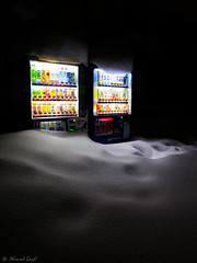 sunk (enchek amat) Tags: boss snow ice night lumix asahi machine kitlens panasonic vendingmachine sunk suntory malam ais calpis salji 1445mm gh2 tenggelam enchekamat ahmadsaufi