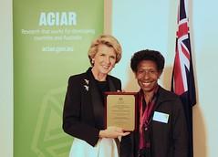 Minister Bishop with Matilda Hamago (ACIAR Australia) Tags: web australia canberra png bishop fellowships aciar usedonweb johndillonfellows march2014
