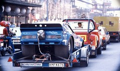 'Race Car in Tow!' (nikkorglass) Tags: max canon sweden stockholm canned 1981 a1 kodachrome funnycar scannad worldcars racingblue dragracingdrag