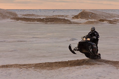 A snowmobile on North Beach (bill.d) Tags: winter snow ice unitedstates michigan unitedstatesofamerica lakemichigan northbeach sled snowmobile southhaven polaris allegancounty eos60d southhavenchartertownship