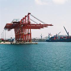 port of Lattakia (iyad LA) Tags: blue sea film water port coast mediterranean harbour ships salt azure cargo syria سوريا lattakia اللاذقية instagram