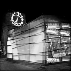 Beat the Clock (jonwaz) Tags: blackandwhite bw clock blancoynegro station night europa europe shadows sweden nightime malmö iphone hipstamatic jonwaz