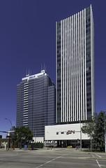 CN & Epcor Towers (Kurayba) Tags: street blue sky canada building tower architecture cn buildings downtown edmonton pentax towers fisheye ave alberta da avenue 104 1017 k5 epcor defished smcpdafisheye1017mmf3545edif