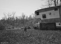 """Watching  over  camp"" (D A Baker) Tags: county camp bw dog white black abandoned dan rural truck landscape landscapes long exposure baker daniel ghost country indiana da vacant ghostly camper delapidated danielbaker danielabaker"