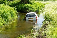 Off road parking (Ben Grader) Tags: auto morning england sky panorama terrain tree water field grass car river landscape bush stream view scene hedge vista van moor rhine bushes prospect wessex yatton somersetshire