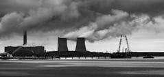 Fiddlers Ferry power station and new mersey crossing construction (barksworld) Tags: new ferry mono boat construction sand crossing towers cranes mersey fiddlers bridgs
