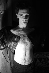 (John Donges) Tags: portrait people blackandwhite hairy man male person model chest leatherjacket 8432 puttingon