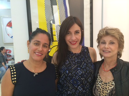 Art consultants Isabelle Falcone  and Ivette Cordova Besson with artist Clarice Grynszpan at the opening at Via gallery in Coconut Grove