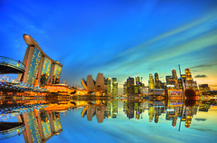 Marina Bay Sands SINGAPORE TOWN (Nits D'silva) Tags: blue sunset reflection water yellow photoshop buildings river lights evening nikon singapore cityhall good background sigma skyscrappers 1020 cbs nithya mbs d300 nits beautifulsky photogaphy 1020mmsigma marinabaysands nits90 artsciencemusemum ohotographicalmemories