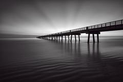 Jax Pier Sunrise (shutterclick3x) Tags: longexposure blackandwhite bw seascape beach sunrise pier fishing frankloose