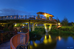 Punggol Waterway (kengoh8888) Tags: lighting longexposure blue sky cloud reflection water colors architecture night landscape photography suspension pentax smooth wideangle bluehour 1020 brdige simga k5iis