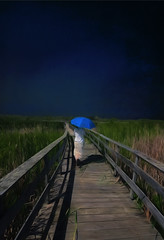 shadow walk (anniedaisybaby) Tags: blue light shadow sky storm texture umbrella boardwalk bigsky marsh flypaper grassynarrows prairieskies topazimpressions