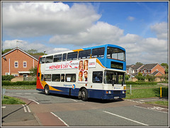 'SPEKE' for oneself (Jason 87030) Tags: road camera sun bus volvo estate shot traffic northamptonshire may picture fave views driver amateur bizarre northants stagecoach d2 doubledecker olympian 2016 daventry 16698 langfarm r698dnh ashbyfields