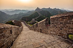 The Great Wall (adrianchandler.com) Tags: china old travel sunset mountains wall architecture wow landscape outside outdoors spring haze ancient ruins exterior cloudy outdoor path bricks great towers chinese beijing hills walkway hazy distance hilltop smoggy jinshanling leadinglines