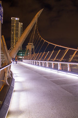 Harbor Drive Pedestrian Bridge (007Ben) Tags: bridge sandiego night lights pedestrians sky suspension clouds harbordrive