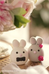 Bunny and Rabbit wedding cake topper (charles fukuyama) Tags: wedding cute conejo custom lapin weddingceremony brideandgroom sculpted  weddingcaketopper  forestwedding loverabbit handmadecaketopper animalscaketopper mochiegg cakedeoration