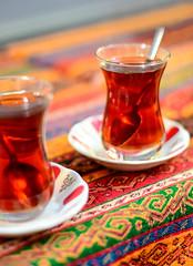 Two glasses of turkish tea (szenasia) Tags: life red black glass turkey 50mm still nikon colorful tea drink traditional beverage istanbul tablecloth turkish ay d610