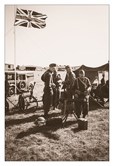 Dad's Army VI (go18lf2004) Tags: bicycle sepia vintage soldier sussex war flag military wwii tent vehicles uniforms unionjack defence shoreham homeguard duties