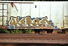 KERSE (TheGraffitiHunters) Tags: street blue brown white black art car yellow train graffiti colorful paint tracks spray boxcar refrigerator freight reefer kerse benched benching