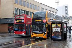Doom and Gloom (sgreen757) Tags: red orange bus buses rain bristol shower open top double doom gloom raining decker broadmead horsefair