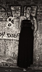 The writing's on the wall.... (Clandrew) Tags: blackandwhite bw monochrome contrast graffiti model dress dereliction lucypaull drewandersonphotography