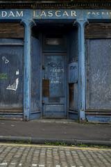 Lascar blue asbestos (dougfot) Tags: street blue scotland store closed charlotte queen leith derelict asbestos douggoldsmith