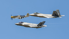 Three Kings Of The Air (4myrrh1) Tags: canon airplane virginia aircraft aviation military airplanes flight airshow va f22 mustang fighters hampton airforce virginiabeach usaf legacy langley p51 f35 2016 ef100400l f35a
