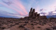 Convergence (Photosuze) Tags: california sunset sky moon landscape rocks land sagebrush rockformations alabamahills