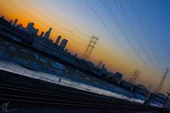 City of Angels Silhouette (Brett Landrum) Tags: city nightphotography bridge sunset silhouette night canon river photography la photo losangeles los downtown angeles traintracks angels dtla cityofangels lariver inthecity canon7d
