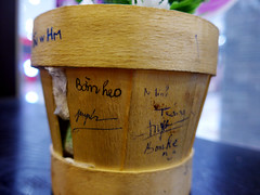 Pot-plant graffiti (Roving I) Tags: wood graffiti highlands timber vietnam pots dining cafes signatures danang autographs vincom