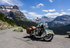 High Road (GrizzlysGhost) Tags: road travel sky mountains classic vintage montana glaciernationalpark glacierpark indianmotorcycle mortorcycle gnp