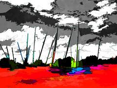 under a grey sky (j.p.yef) Tags: red abstract clouds germany landscape grey digitalart sailboats kiel abstrakt yef peterfey jpyef