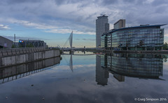 Salford Quays Reflected. 23rd June 2016. (craigdouglassimpson) Tags: england water reflections dawn morninglight bridges salfordquays lancashire manchestershipcanal mediacity