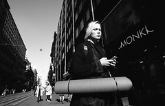 Street portraits (__ _) Tags: lighting portrait blackandwhite film girl composition contrast 35mm finland europe shadows candid streetphotography ilford panf selfdeveloped selfscanned