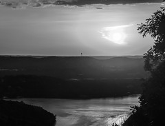 Black and White Sunset (jhoff1257) Tags: sunset blackandwhite bw sun white lake black water colors beautiful clouds sailboat landscape outside coast boat reservoir missouri setting branson ozark tablerock tablerocklake bodyofwater missourisunset missourilake visitmo