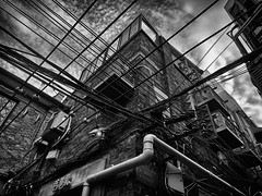 Urban Jungle (Petr Horak) Tags: china city sky bw building architecture asia pattern shanghai outdoor wires electricity shanghaicity chn
