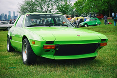 Fiat X1/9 in green (Eric Flexyourhead (shoulder injury, slow)) Tags: canada green car zeiss italian bc fiat britishcolumbia vibrant vivid northvancouver waterfrontpark shallowdepthoffield 2016 fiatx19 x19 55mmf18 italianfrenchcarbikefestival sonyalphaa7 zeisssonnartfe55mmf18za