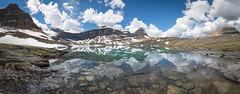 Caldron Lake Panorama (Darren Umbsaar) Tags: park light summer panorama cloud sun mountain lake canada mountains reflection water sunshine rockies day afternoon view cloudy walk rocky peak sunny canadian hike cliffs ridge mount trail national summit banff caldron peyto