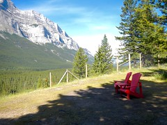 Banff Legacy Trail Cycle - The iconic National Park red chairs next to trail (benlarhome) Tags: canada nationalpark path trail alberta cycle banff canmore fahrrad pathway