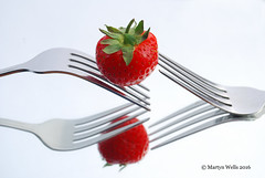 Week 26-2016 (mpw1421) Tags: summer stilllife food reflection reflections strawberry nikon whitebackground forks d60 unlimitedphotos wk2652 522016edition 522016