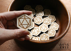 6by6Arts_d20pins3 (thea superstarr) Tags: dungeonsanddragons icosahedron dnd d20 madeinusa lasercut laserengraved 6by6arts