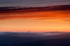 Bloody Sunrise Over Misty Dartmoor (lighthunter09) Tags: park red cloud mist nature fog clouds sunrise hill reserve hills colourful dartmoor