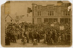 Public meeting, Aberfeldy, 19th cent (P&KC Archive) Tags: building tourism fashion sport architecture scotland 19thcentury perthshire scene recreation roads royalty aberfeldy spectacle perthandkinross